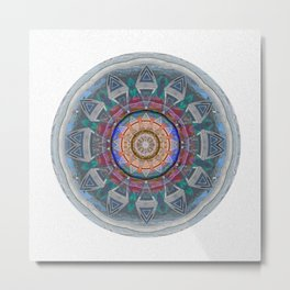 Eye of Cosmic Love Sacred Geometry Ancient Mandala Print Metal Print