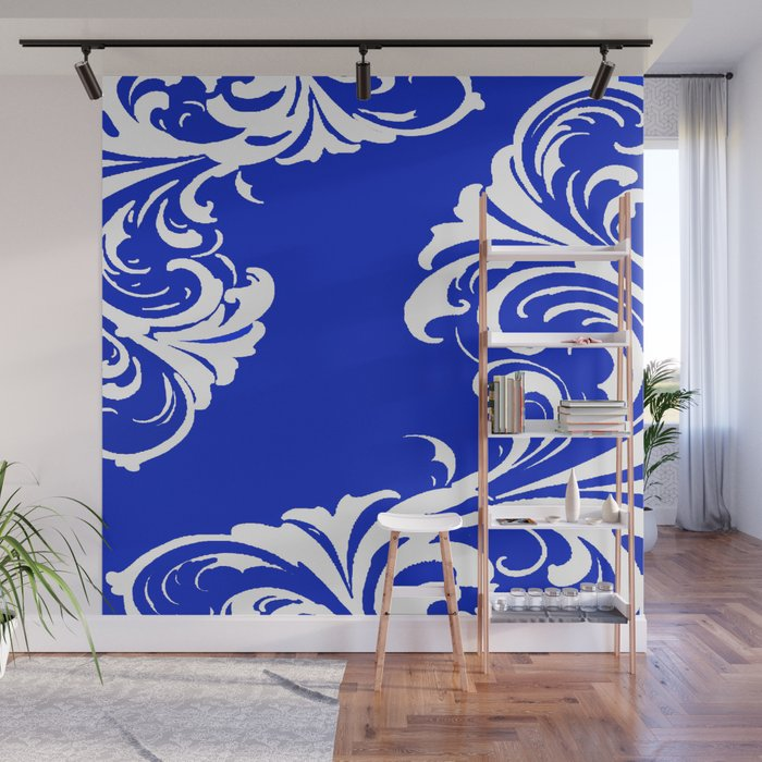 Damask Blue and White Wall Mural