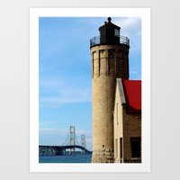 Mackinac Bridge and Old Mission Lighthouse Art Print
