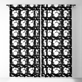 Drumset Pattern (White on Black) Blackout Curtain