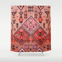N52 - Pink & Orange Antique Oriental Traditional Moroccan Style Artwork Shower Curtain