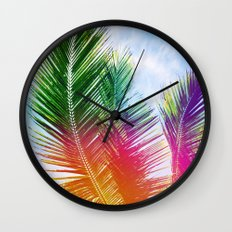 Neon Rainbow palm Wall Clock