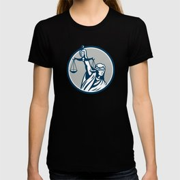 Lady Blindfolded Holding Scales Justice Front Retro T-shirt
