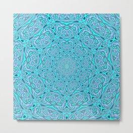 Aqua Blue Water Mandala Metal Print