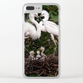 Egret Family Clear iPhone Case