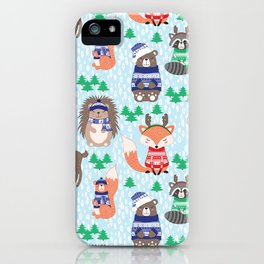Christmas woodland iPhone Case
