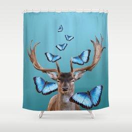 Deer Head with blue morph butterflies around Shower Curtain