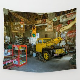 Tow Truck Garage at Restored Service Station on Route 66 in Missouri Wall Tapestry