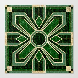 Art Deco Floral Tiles in Emerald Green and Faux Gold Canvas Print