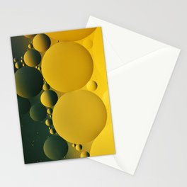 Yellow Bubbles, Oil and Water, Circles, Round Shapes, Abstract Photo Stationery Cards