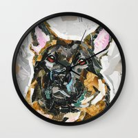 german shepherd Wall Clocks featuring Hans the German Shepherd by Maritza Hernandez
