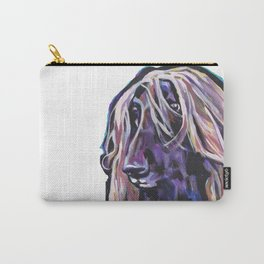 Fun Afghan Hound Dog Portrait bright colorful Pop Art by LEA Carry-All Pouch