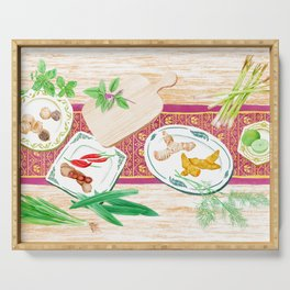 Watercolor Illustration of spices on plates placed on a wooden table Serving Tray