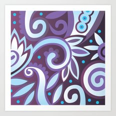 Summer leaves, purple Art Print