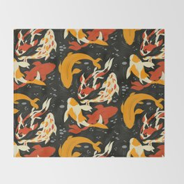 Koi in Black Water Throw Blanket