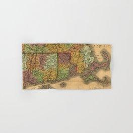 1831 Rhode Island, Connecticut, and Massachusetts Wall Map Hand & Bath Towel