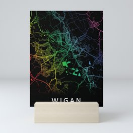 Wigan, England, City, Map, Rainbow, Map, Art, Print Mini Art Print