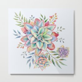 Watercolor Succulents #73 Metal Print