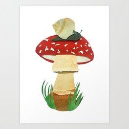Mushroom & Snail Duo Art Print