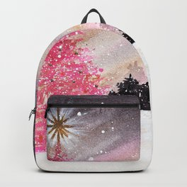 Magical Pink Christmas Tree in Snowy Woods Watercolor Backpack