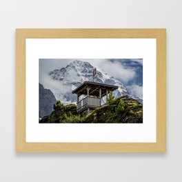 Swiss Observation Tower and Monch (Monk) Mountain - Lauterbrunnen Framed Art Print