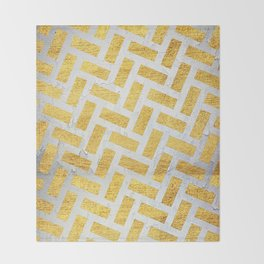 Brick Pattern 1 in Gold and Silver Throw Blanket