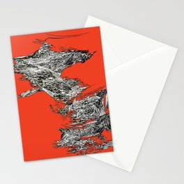 Waterfall in Red Stationery Cards