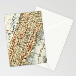 Weehawken, Union City & West New York Map (1935) Stationery Cards