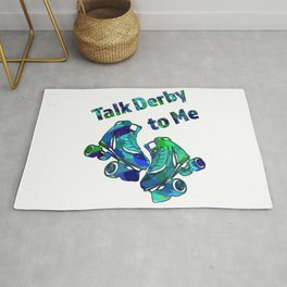 Talk Derby to Me-Roller Derby Skate Design in Blue and Greens Rug
