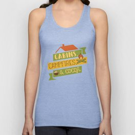 Cabins, Campfires, & Cocoa Camping Vacation T-Shirt Unisex Tank Top