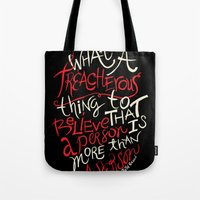 paper towns Tote Bags featuring Paper Towns- Treacherous by deducktion
