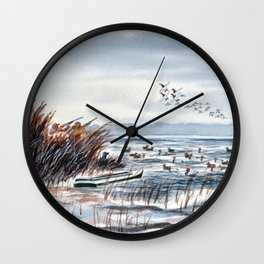 Duck Hunting For Canvasbacks Wall Clock