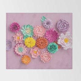 Handmade paper flowers Throw Blanket