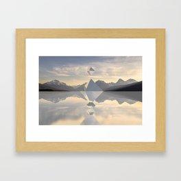 Mirror Shaped Mountain Framed Art Print