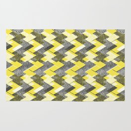 Geometric yellow, gray pattern. Rug