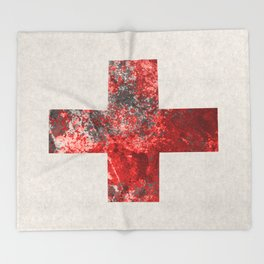 Medic - Abstract Medical Cross In Red And Black Throw Blanket