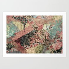 PIECES OF ME - Lovely Muted Pink Black White Floral Stripe Abstract Acrylic Fabric Collage Painting Art Print