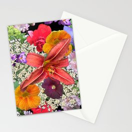 Newt in multi color floral Stationery Cards