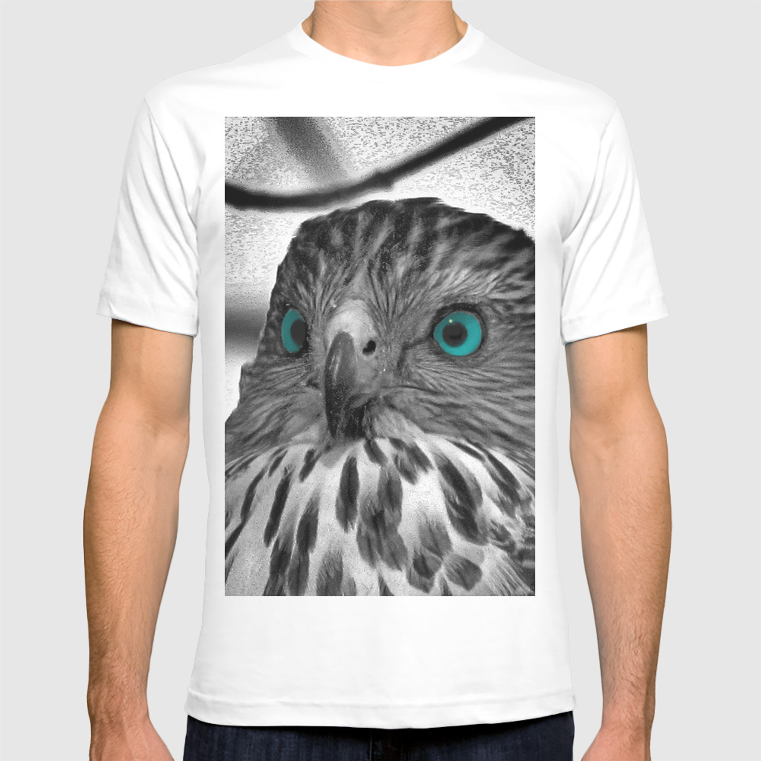 Black And White Hawk With Aqua Blue Eye A165 T Shirt By Nicolphotographicart Society6
