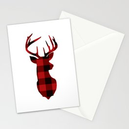 Red Buffalo Plaid Deer Stationery Cards