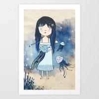 medusa Art Prints featuring Medusa by Kristina Sabaite