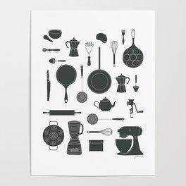 Kitchen Tools (black on white) Poster
