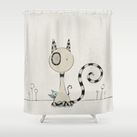 plain Shower Curtains featuring Shy Cats, plain by Päivi Hintsanen