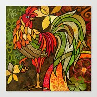 rooster Canvas Prints featuring Rooster by Cat Thurman