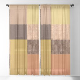 Fall Mustard Orange Golden Brown Checkered Gingham Patchwork Color Sheer Curtain