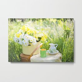 Romantic Daisy Flower Bouquet Metal Print