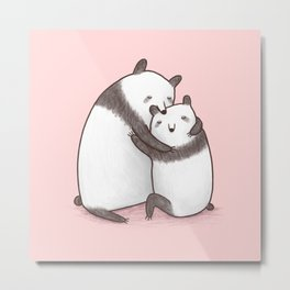 Panda Cuddle Metal Print