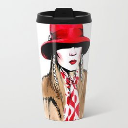 Fashion #18. woman in red hat, fur coat, long bright scarf and long earrings. Travel Mug