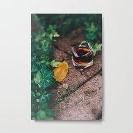 Coffee Sip in the Garden - Art Print Metal Print
