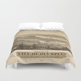 Birdy's Eye View of Olympia, East Olympia and Tumwater, Puget Sound, Washington State (1879) Duvet Cover